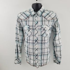 BKE Button down shirt athletic pearl snap J56